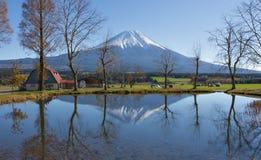 Fujisan at Fumotoppara Campground. Reflection Fujisan at Fumotoppara Campground royalty free stock photo