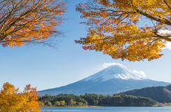 Fujisan at Lake Kawaguchiko. Mimosa Tunnel is One of the most famous location for Fuji sightseeing on the mountain in Lake Kawaguchiko, Yamanashi, Japan Stock Photography