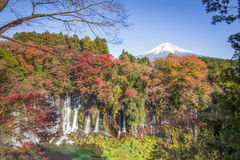 Fujisan at Lake Kawaguchiko. The most famous location for Fuji sightseeing is Shiraito Waterfalls, Fujinomiya, Shizuoka, Japan stock photography