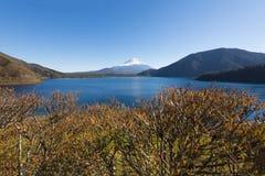 Fujisan at Lake Motosu. On 1000yen bank note stock photo