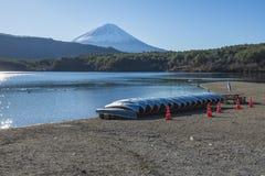 Fujisan at Lake Saiko. One of the most famous location for Fuji sightseeing on the mountain in Lake Saiko, Yamanashi, Japan stock image