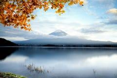 Fujisan. Mt fuji with autumn foliage at lake kawaguchi, Japan royalty free stock photo