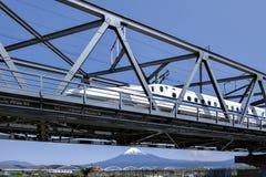 Fujisan and Shinkansen. Fuji Mountain and N700 Series Kodoma Shinkansen from tokyo to osaka stock photo