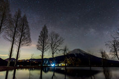 Fujisan with Star and milkyway Stock Photography