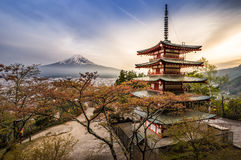 Fujisan with shrine (chureito pagoda) Royalty Free Stock Photo
