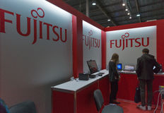 Fujitsu company booth at CEE 2015, the largest electronics trade show in Ukraine Stock Photos