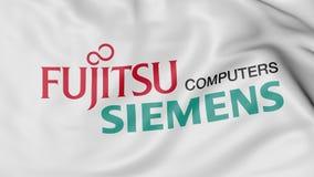 Конец вверх развевая флага с логотипом компьютеров Fujitsu Limited Сименса, переводом 3D Стоковая Фотография RF