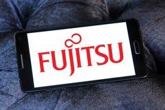 Fujitsu logo. Logo of fujitsu company on samsung mobile phone a5 Stock Photos