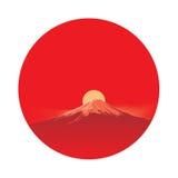 Fujiyama för sol i cirkelområde royaltyfri illustrationer