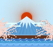 Fujiyama Japan mountain. Symbolic of japanese  eps10 Royalty Free Stock Photo