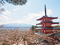 Fujiyama mountain with red Japanese pagoda 3 Stock Photos