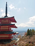 Fujiyama mountain with red Japanese pagoda 4 Royalty Free Stock Image