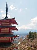 Fujiyama mountain with red Japanese pagoda 4 Royalty Free Stock Image