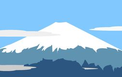 Fujiyama - symbol of Japan. Vector illustration - Fujiyama - symbol of Japan.  Panorama: mountain landscape on background of sky and clouds Stock Photo