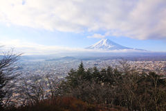 Fujiyama with town view Royalty Free Stock Image