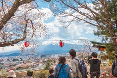 Fujiyoshida, Japan - 22. April: Menge, die Kirschblüte sa genießt lizenzfreie stockfotos