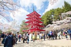 FUJIYOSHIDA, JAPAN - April 23, 2017:Red pagoda in cherry blossom Royalty Free Stock Photography