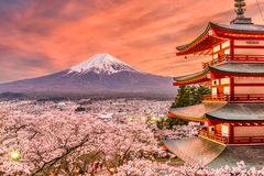 Fujiyoshida, Japan Spring Landscape. With Mt. Fuji and the Peace Pagoda Stock Photography