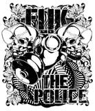 Fuk the police. Vector illustration ideal for printing on apparel clothes Stock Photos