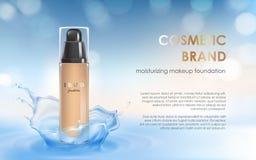 Fukta colorstay smink i elegant förpacka på en bakgrund av vattenfärgstänk royaltyfri illustrationer