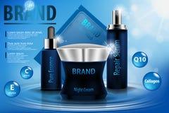Fukta den kosmetiska annonsmallen, kosmetisk produktmodell för illustration 3D på vatten Kräm, sprejserum och rent vektor illustrationer