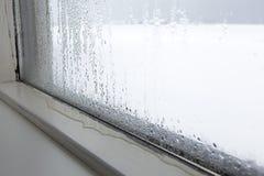 Fuktighet på ett fönster Fotografering för Bildbyråer