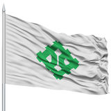 Fukui Capital City Flag on Flagpole, Flying in the Wind, Isolated on White Stock Image