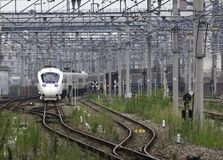 30 08 Fukuoka 2015 japón Tren expreso por el ferrocarril Compa de Kyushu Fotos de archivo libres de regalías