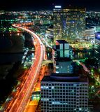 Fukuoka, Japan. Cityscape, Landscape, long exposure shot at night of the city of Fukuoka and its buildings and skyscrapers in the royalty free stock photography