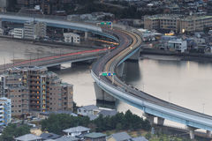 Fukuoka, Japan cityscape och kontorsbyggnader Arkivbilder