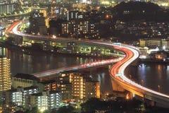 Fukuoka, Japan cityscape och kontorsbyggnader Arkivbild