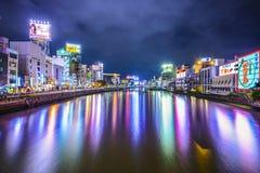 Fukuoka Japan flod Cityscape Arkivbild