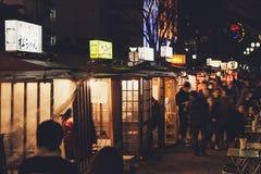 FUKUOKA, JAPAN - MARCH 3,2014 : Fukuoka famous food stalls Nightl. Ife located along river Nakasu Stock Photography
