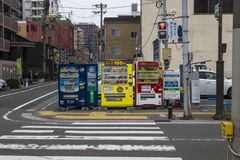 Fukuoka JAPAN - September 13 2017: dryckvaruautomater på gatorna av Fukuoka Royaltyfri Foto