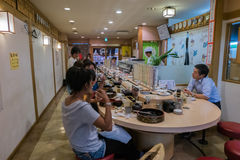 FUKUOKA, JAPAN - SEPTEMBER 26, 2014: Interior of japanese sushi Stock Photos