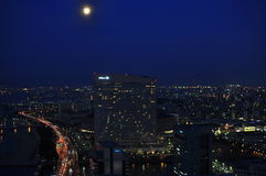 Fukuoka night skyline. Fukuoka City at night ( aerial view ) picture taken from a height of 300 meter above sea level Royalty Free Stock Photography