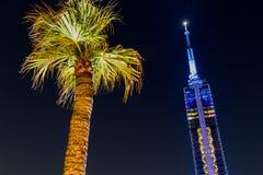 Fukuoka Tower and Palm. FUKUOKA, JAPAN - MAY 20, 2017: View of Fukuoka Tower lit up at night with palm tree, as seen from Momochi Beach`s Marizon entertainment royalty free stock images