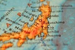 Fukushima на глобусе стоковое фото