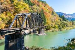 Fukushima Black Bridge Tadami River Japan stock photography