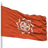 Fukushima Capital City Flag sull'asta della bandiera, volante nel vento, isolato su bianco Fotografia Stock Libera da Diritti