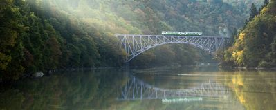 Fukushima First Bridge Tadami River Giappone fotografia stock