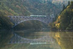 Fukushima First Bridge Tadami River Japão Fotos de Stock Royalty Free
