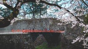 FUKUSHIMA, JAPÃO - ABRIL 15,2016: Surr do castelo de Tsuruga da visita do turista Fotos de Stock