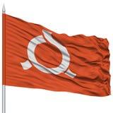 Fukushima Japan Prefecture Flag aislada en asta de bandera Imagen de archivo libre de regalías