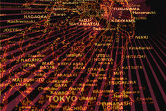 Fukushima Tokio. Illustration - map of Japan with Fukushima and Tokio Royalty Free Stock Image
