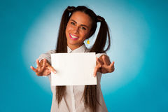 Ful hispanic business woman holding blank card Stock Photos