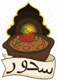 Ful Medames met Lint voor Ontbijt in Dawn in Ramadan, Vectorillustratie vector illustratie