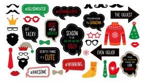 Fula tasky stöttor för bås för foto för jultröjaparti vektor illustrationer