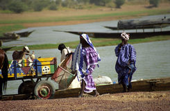 Fulani people at the river, Mali Royalty Free Stock Photo