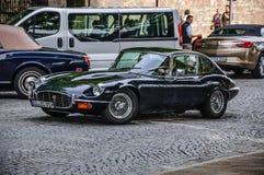 FULDA, GERMANY - MAI 2013: Jaguar E-Type coupe retro car on Mai Stock Images